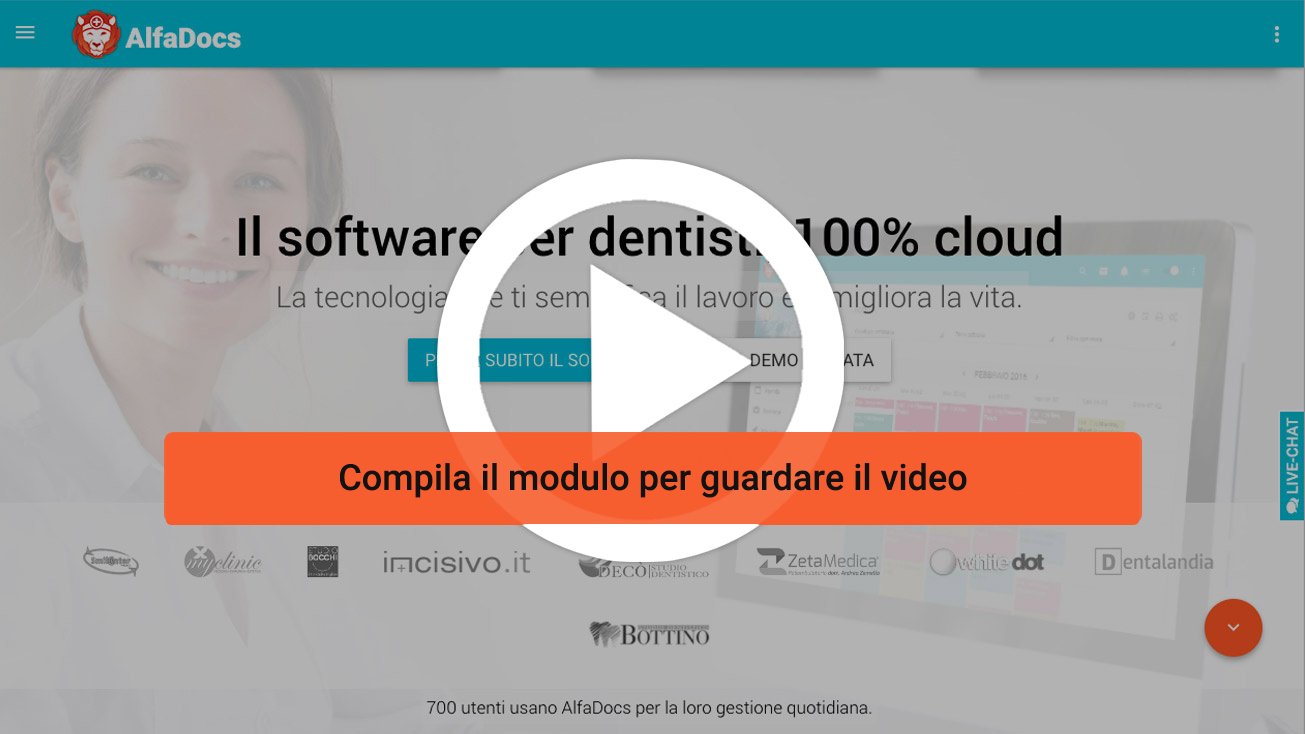 Guarda la video demo gratuita del software gestionale per studi dentistici AlfaDocs